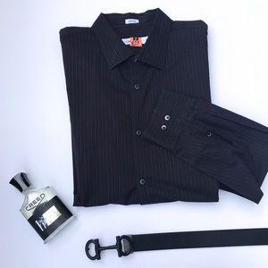 Calvin Klein Casual Dress Shirt Black Stripes XL